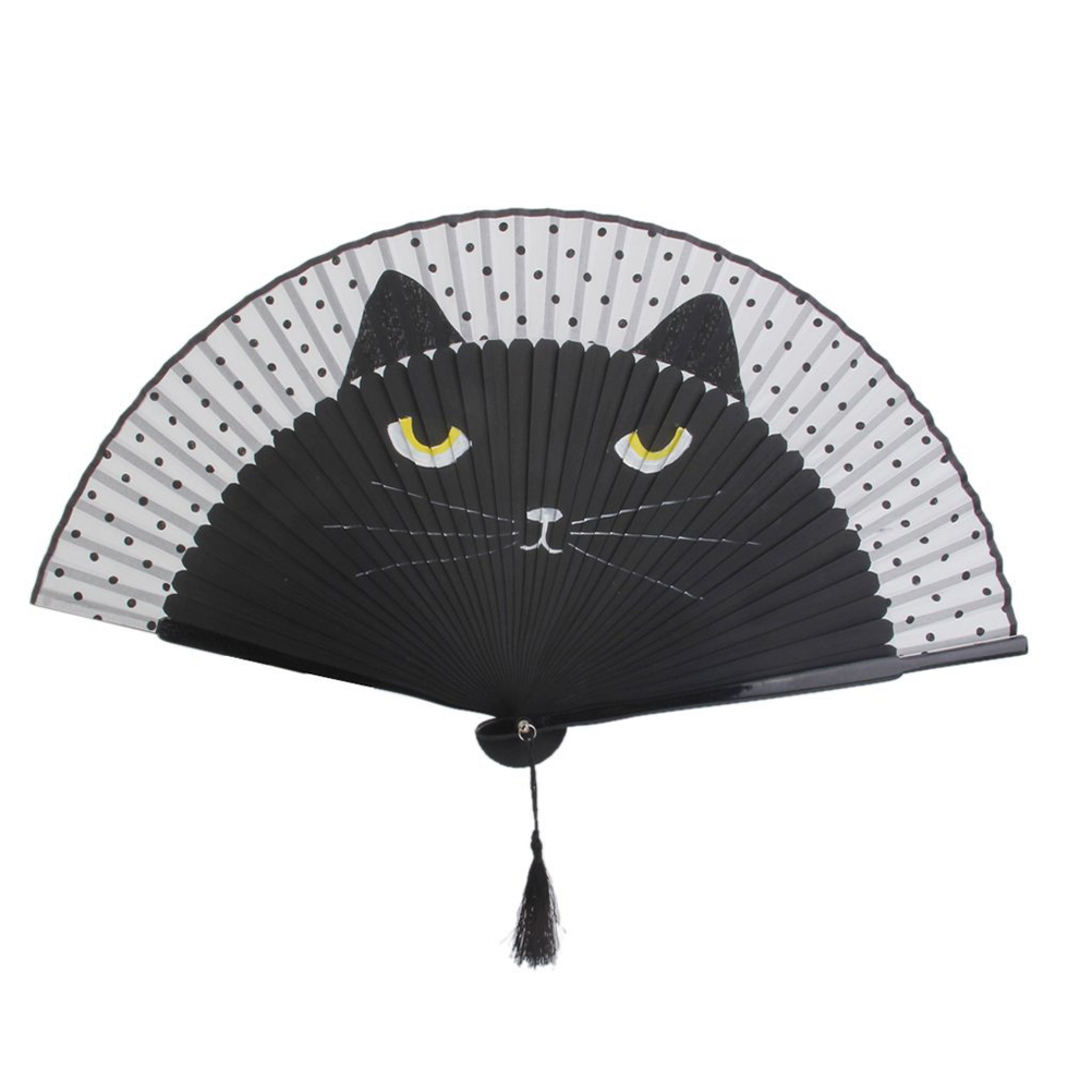 Cute Cartoon Cat Silk Bamboo Hand Pan Folding Decoration Fan DIY Craft For Party Favour