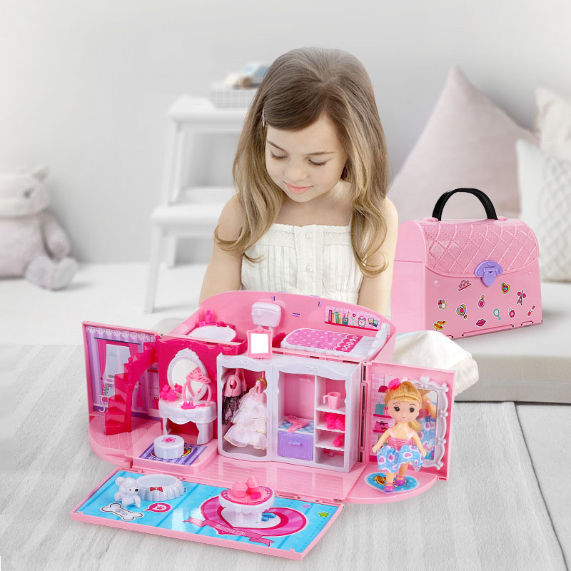 Doll House Hand Bag Accessories Cute Furniture Miniature Dollhouse Birthday Gift Home Model Toy House Doll Toys For Children