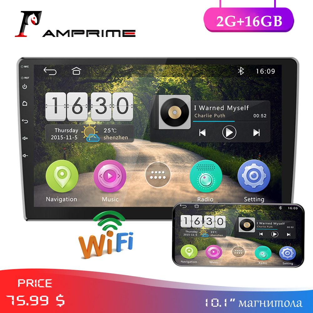 AMPrime <font><b>2</b></font> <font><b>DIN</b></font> Car Radio <font><b>Android</b></font> Car Multimedia Player 2G+16G Bluetooth WIFI 10.<font><b>1</b></font>'' 2din Car Autoradio GPS Mirrorlink with Camera image
