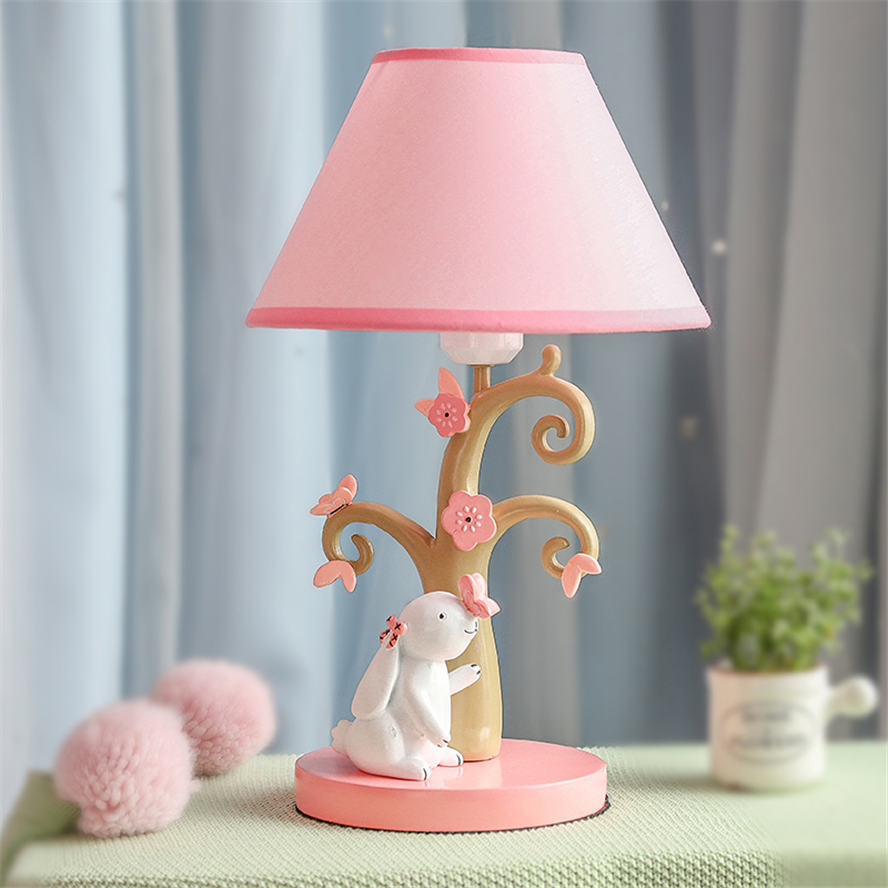 Ins Cute Rabbit Sweet Style Fabric Resin Table Lamp Pink Girl Bedroom Deco Children Bedside Lamps Led Desk Stand Light Fixtures Led Table Lamps Aliexpress