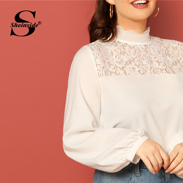 Sheinside Plus Size Casual Stand Collar Lace Patchwork Blouse Women 2019 Autumn Lantern Sleeve Blouses Ladies Solid Basic Top 4