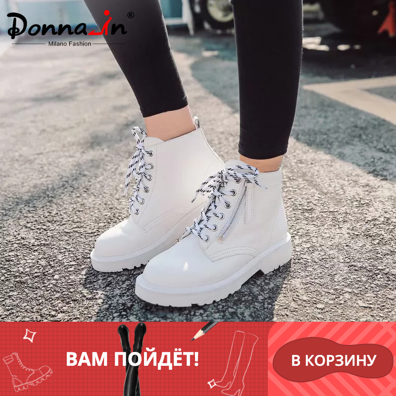 Donna in Warm Wool Woman Ankle Boots Autumn Winter Platform Shoes Flats Lace Up Genuine leather Matin Boots Snow With Fur Female-in Ankle Boots from Shoes