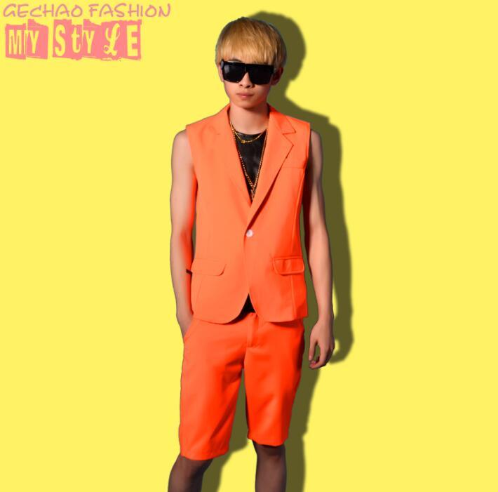 men vest Candy orange clothing camiseta tirantes hombre personalized singer dance stage street star style dress
