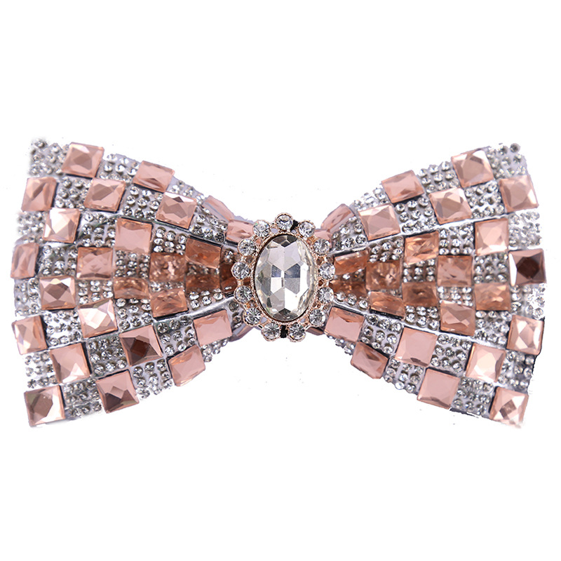 2020 New Women Mens Diamond Bow Tie Glitter Crystal Rhinestone White Pink Color One Size 12*6cm