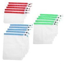15 шт/лот многоразовые сетчатые сумки моющиеся экологически