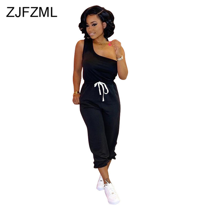 Sexy Solid Two Piece Set Tracksuit Women One Shoulder Open Back T Shirts And Drawstring Long Trousers Plus Size 2 Pcs Outfits