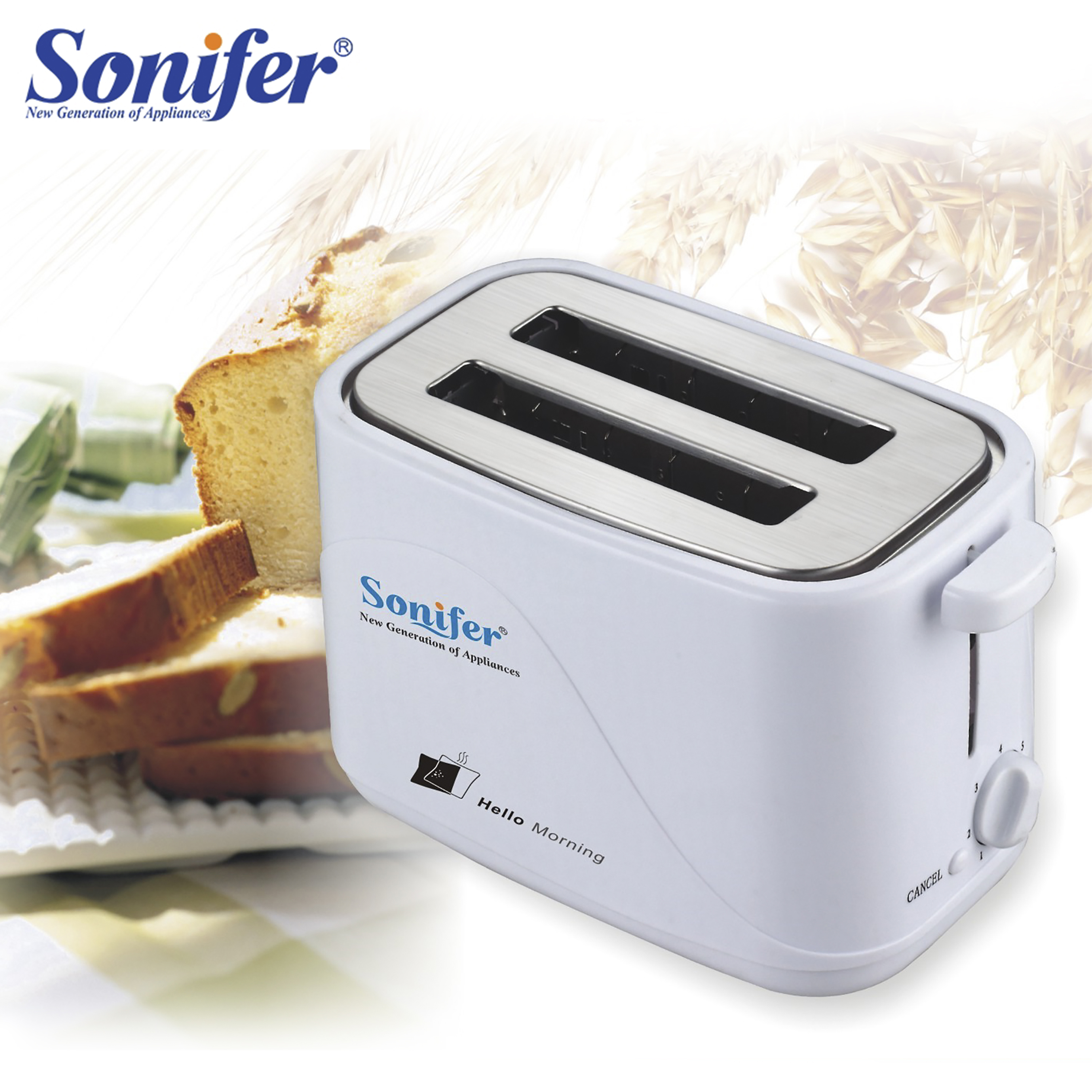 2 Slices Toaster Automatic Fast Heating Bread Toaster Household Breakfast Maker Sonifer