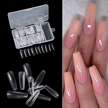 100pcs/box Full Cover Fake Nail Artificial Press on Long Ballerina Clear/Natural/white False Coffin Nails Art Tips Manicure Tool 1