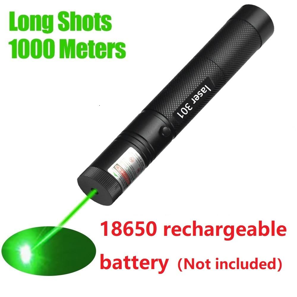 Лазерная ручка, черный прочный Видимый луч, лазерная точка, мощная лазерная ручка, зеленый лазер, непрерывная линия 1000 метров (без батареек)