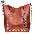 Сумка на плечо с заклепками в стиле ретро, сумочка кросс-боди на цепочке для женщин, роскошный кожаный мессенджер, большая женская сумочка