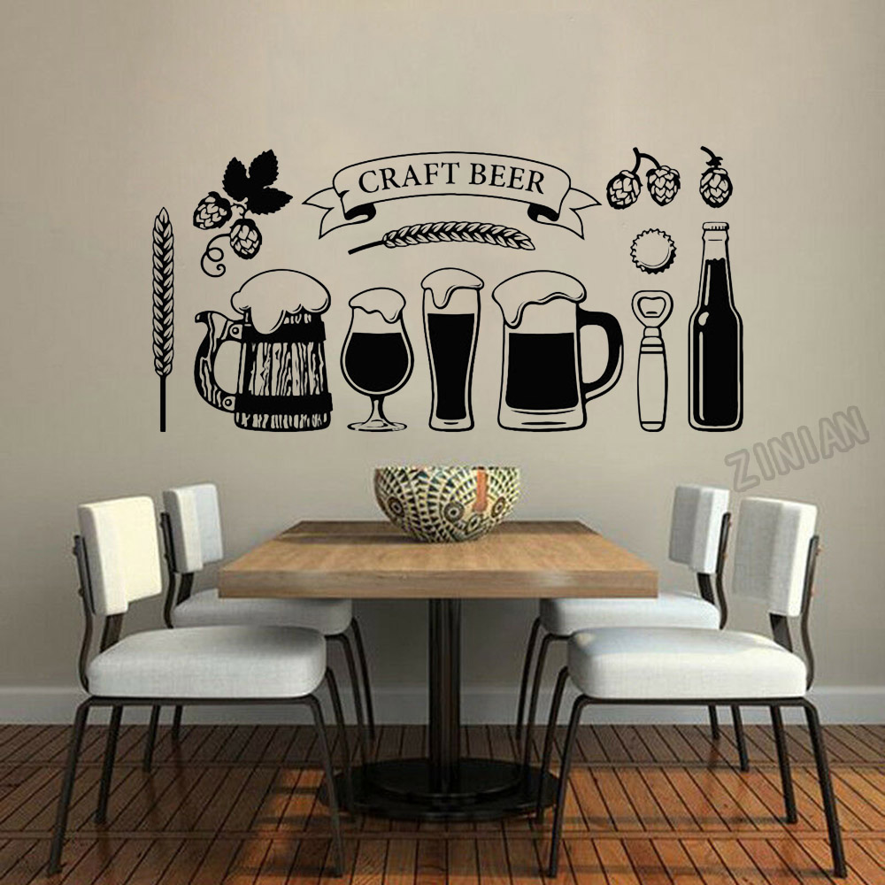 Craft Beer Wall Stickers For Music Bar Vinyl Wall Decal Decor Kitchen Art Decals For Alcohol Barrel Decoration Wallproof Y051
