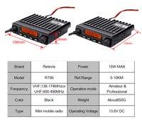 רכב נייד רדיו RETEVIS RT98 מיני נייד רדיו VHF (או UHF) 15W 199 צג LCD CH רכב מכשיר הקשר Ham Radio רכב רדיו משדר ארוך טווח (3)