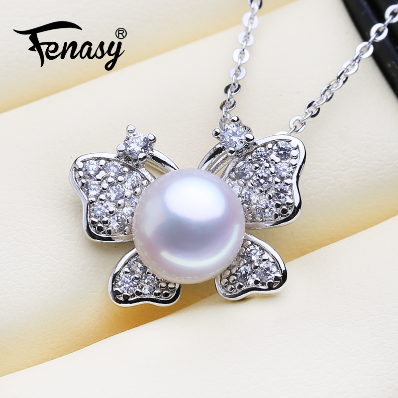 FENASY Natural Pearl Necklace For Women Pearl Jewelry Personalized Butterfly Pendant With Chain Cubic Zirconia Choker Necklace