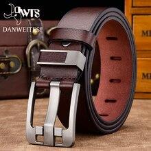 DWTS-Cinturón de cuero genuino para hombre, correa de piel de alta calidad con hebilla de lujo para jeans vintage elegantes, envío gratis