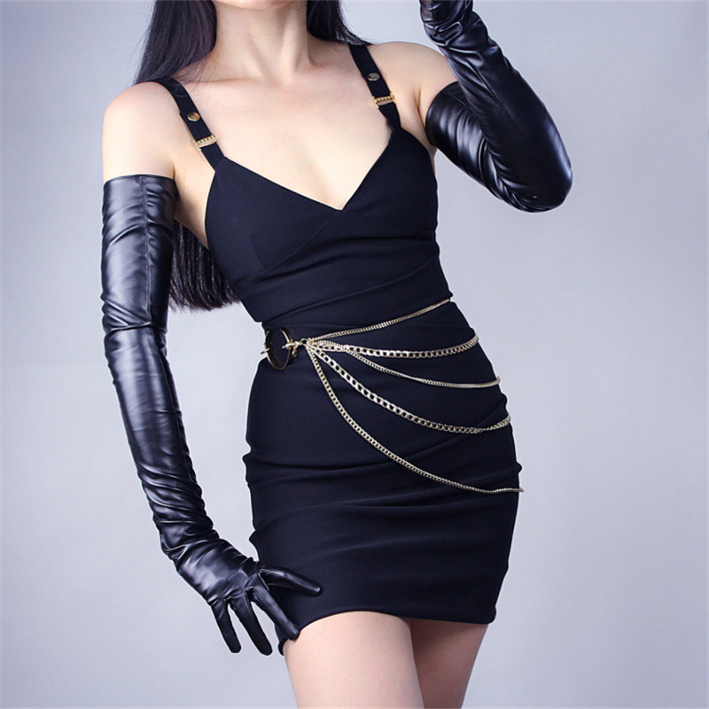 70cm Extra Long Leather Gloves Over Elbow Emulation Leather Sheepskin PU Female Bright Black Touchscreen Function PU14-70