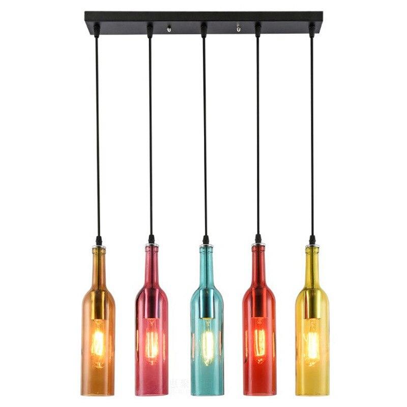 Vintage Industrial Colored Glass Pendant Light Wine Bottle Chandelier For Cafe Loft Restaurant  QJS Shop