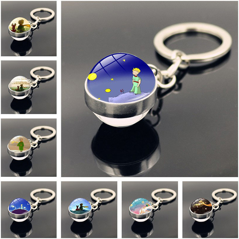 Le Petit Prince Jewelry Metal Keychain Little Prince Art Picture Double Sided Glass Ball Key Chain Pendant Christmas Gifts