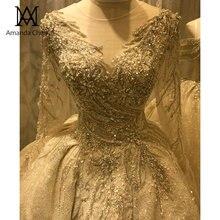 Abendkleid O צוואר ארוך שרוול בעבודת יד קריסטל ואגלי מבריק חתונה שמלה