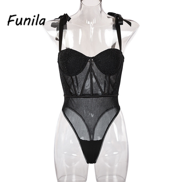 Sexy Bodysuit for Female Women Black Shiny Bandage One Piece Overalls Sleeveless Fashion Large Size Rompers Lace Up Top Bodycon 5