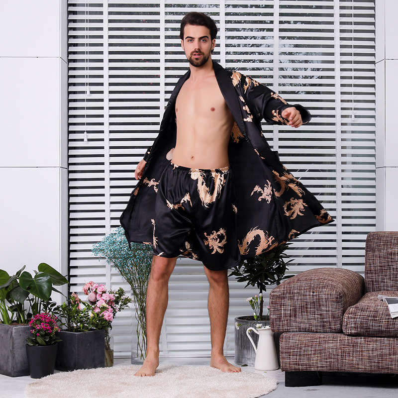 Robe Dressing-Gown Kimono Men Satin Silk Dragon Two-Piece Male Mens 5XL Black Extra  title=