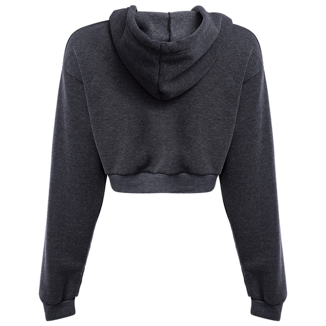 Ms. Sweatshirts Autumn Hooded Long Sleeve Hooded Pullovers Casual Drawstring Hoodie Pullovers Short Crop Top with Long Sleeves 2