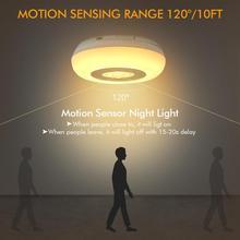 2Pcs LED Motion Sensor Night Light 5V 10ft Stick-On Round Shape Battery-Powered Safe Lights For Kids Bedroom Baby Gift