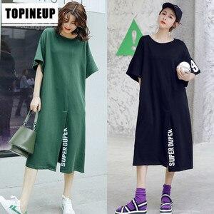 Популярное летнее удобное Свободное длинное платье с разрезом, с круглым вырезом, для отдыха, с буквенным принтом, корейский стиль