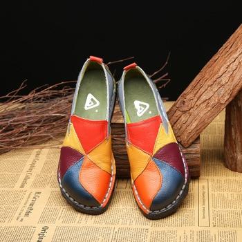 Zapatos De Mujer De cuero genuino planos De verano mocasines Mujer Slip...