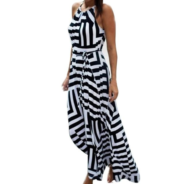 Summer Maxi Long Dress New Fashion Women Sexy Boho Striped Sleeveless Beach Style Strap Sundress Evening Party Beach Sundress 2