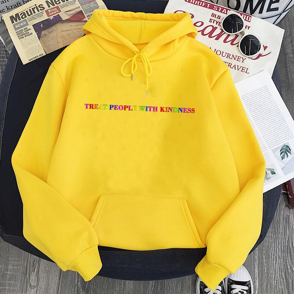 Treat People with Kindness Sweatshirt Streetwear Fashion Tops Letter Pullovers Women 2020 Harry Styles Hoodies Aesthetic 6