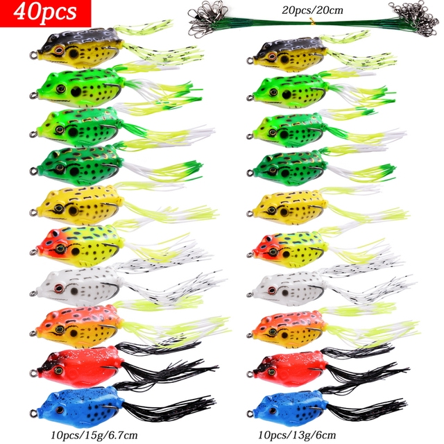 Set Soft Frog Shape Fishing Lures Kit Double Hooks 6g 9g 13g