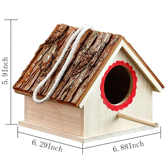 Wooden Birdhouses Small Birds Nest Breeding Box for Dove Finch Sparrow Outdoors Hanging Garden Patio Decoration Bird House