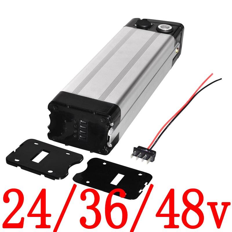 24v 36v 48v caixa de bateria de lítio 24v 36v 48v bicicleta elétrica caixa de bateria 24v 36v 48v prata peixe bicicleta elétrica alumínio habitação