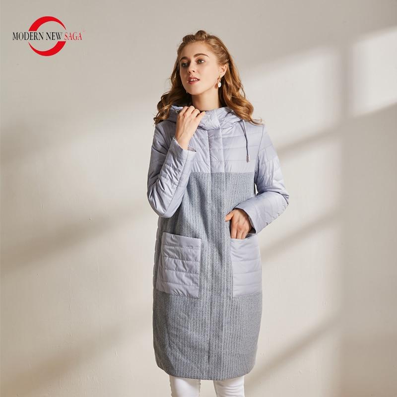 MODERN NEW SAGA Autumn Women Coat Cotton Padded Jacket Hooded Parkas Women Long Jacket Casual Female Coats Winter Ladies Coats