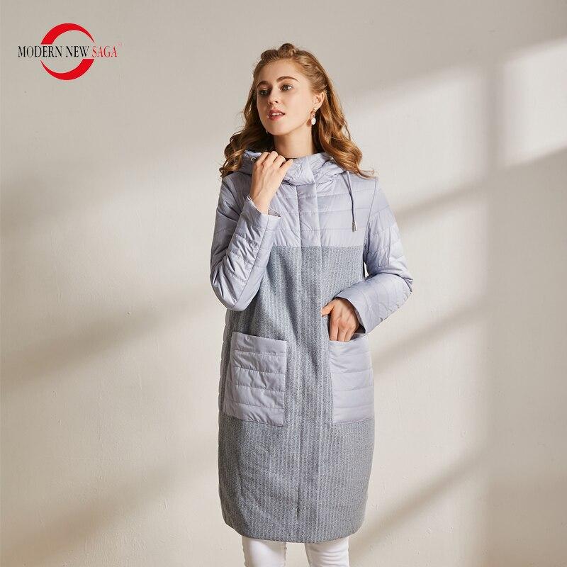 Moderne nouvelle SAGA automne femmes manteau coton rembourré veste à capuche Parkas femmes longue veste décontracté femme manteaux hiver dames manteaux