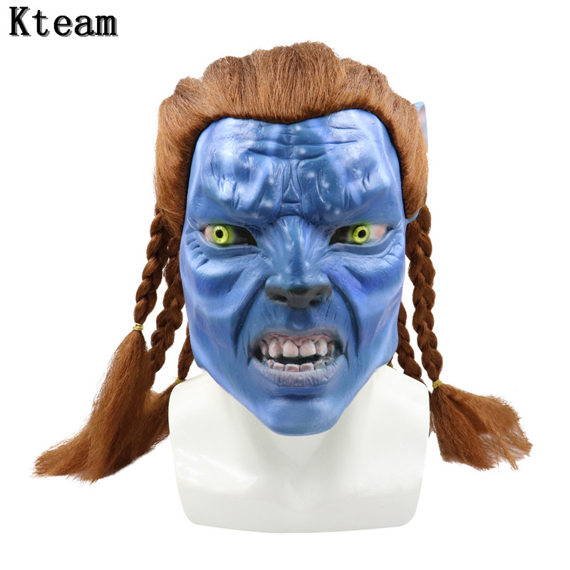 Hot New Alien <font><b>Avatar</b></font> Cosplay UFO <font><b>Mask</b></font> Blue Elf Cos Full Head <font><b>Mask</b></font> Halloween Prop Movie Entertainment Cool Cosplay Prop Drop Ship image