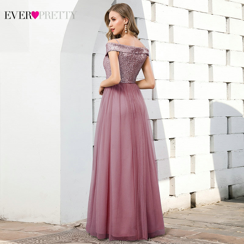 Elegant Blue Evening Dresses Ever Pretty EP00784DB Ruched V-Neck Sequined Spaghetti Straps Tulle Formal Gowns Vestidos Elegantes