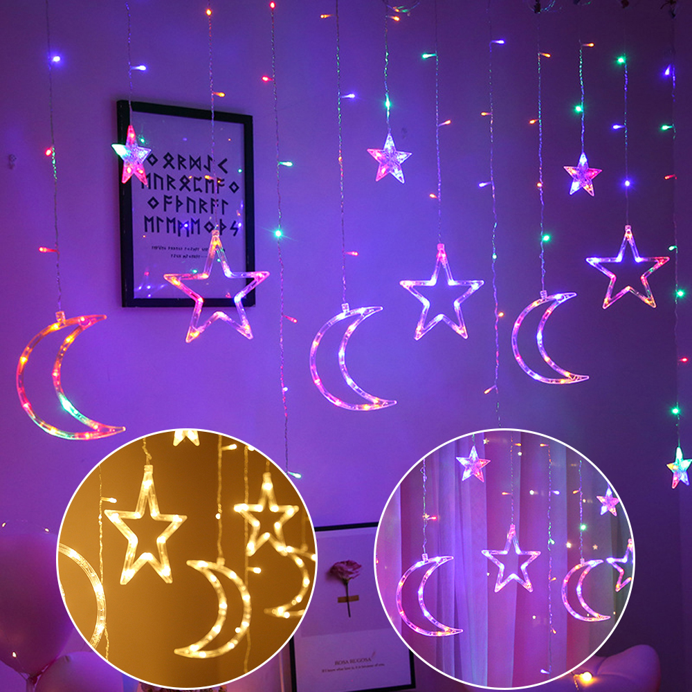 LED Curtain String <font><b>Lights</b></font> with Stars Moon 8 Lighting Modes Twinkle <font><b>Home</b></font> <font><b>Decor</b></font> <font><b>Lights</b></font> <font><b>for</b></font> Bedroom Wedding Valentine Backdrop D30 image