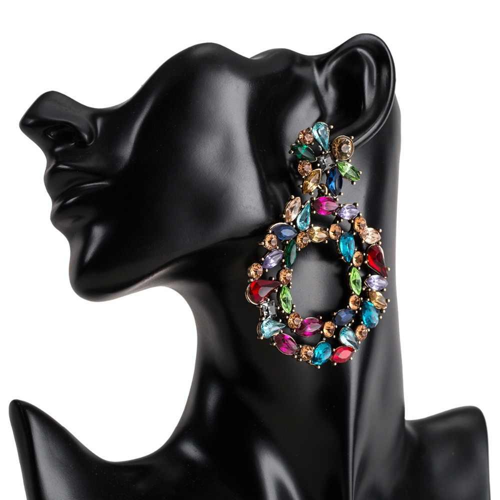יוקרה קריסטל עגילים גדולים עבור נשים 2019 מעגל תליון אמירה צבעונית גדול ריינסטון מפלגת עגילי תכשיטים