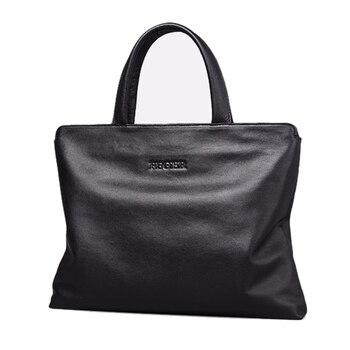 FEGER Men's Genuine Leather Handbag Laptop Briefcase Slim Business Hand Bag Brand Men Shoulder Bag Male Handbags Bags Black