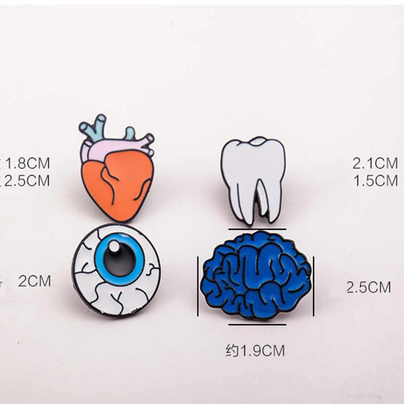 Warna Trendi Tetes Minyak Organ Tubuh Bros untuk Wanita Laporan Otak Mata Gigi Jantung Bros Fashion Perhiasan Aksesoris Grosir