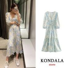 Casual women dress za 2020 floral print vestidos vintage cas