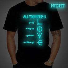 Camiseta de algodão de manga curta t tudo o que você precisa é amor equações japanes camiseta