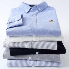 Рубашка мужская из чистого хлопка, Повседневная стильная блузка в полоску, из ткани Оксфорд, с длинным рукавом и вышивкой логотипа, модный крой Regular Fit