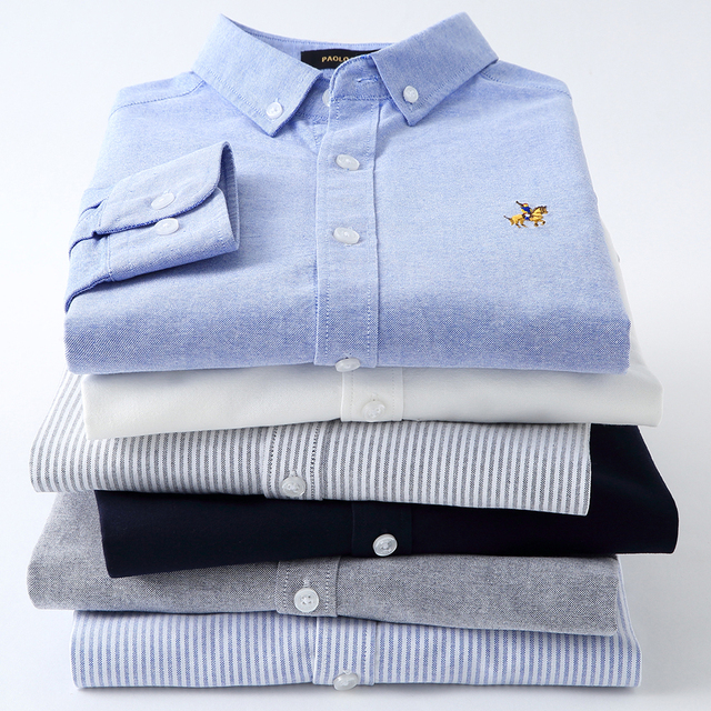 عادية القطن الخالص أكسفورد مخطط قمصان للرجال طويلة الأكمام التطريز شعار تصميم منتظم صالح موضة أنيقة بلوزة