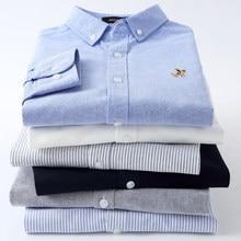 Camicie Casual a righe Oxford in puro cotone per uomo manica lunga ricamo Logo Design vestibilità regolare moda elegante