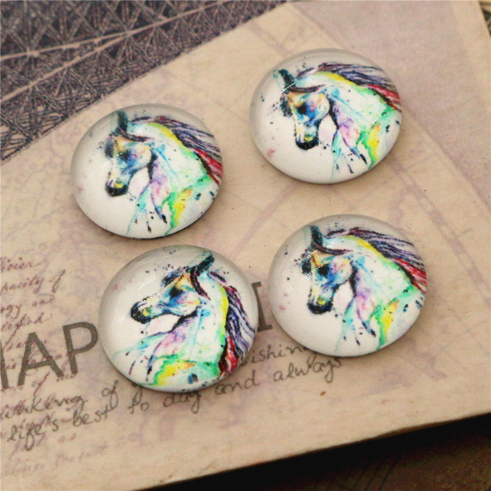 New Fashion  20pcs 12mm Color Horse Handmade Photo Glass Cabochons Pattern Domed Jewelry Accessories Supplies-E4-50
