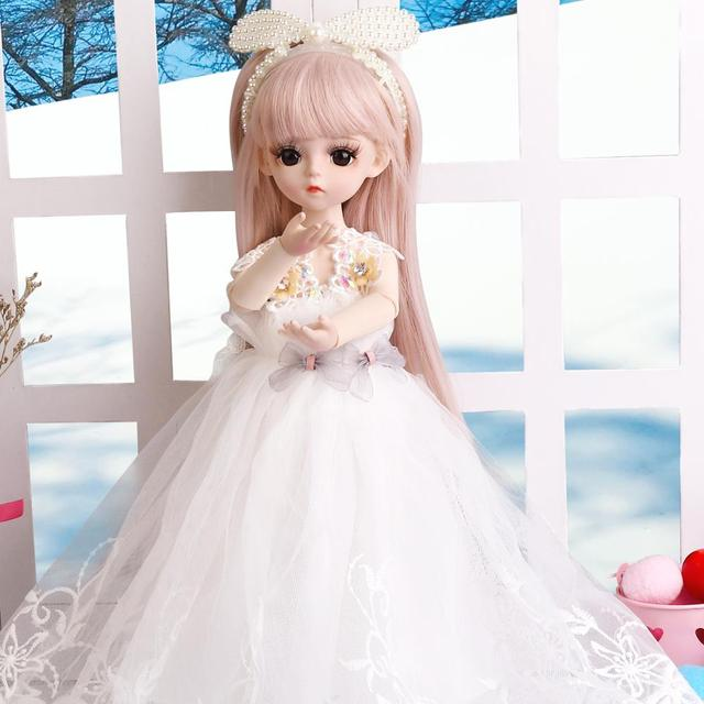 1/6 BJD Doll 18 Ball Jointed Dolls 30CM Girls Doll With White Dress Wig Shoes Makeup Toys For Girls Birthday Gifts Collection 4