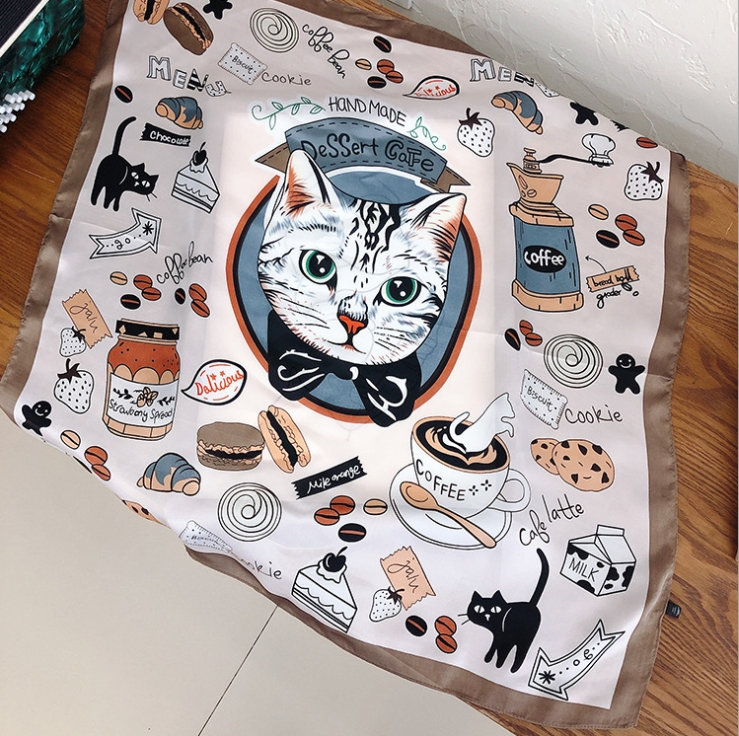 Spring And Summer New Small Silk Scarf Animal Series Cartoon Cat Imitation Silk Scarf Scarf