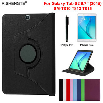 Case for Samsung Galaxy Tab S2 9.7 2015 360 Rotating Cover Tablet SM-T810 T813 T815 T819C Filp Leather Stand Case With Pen+Film detachable wireless bluetooth 3 0 keyboard with touchpad pu leather case cover stand for samsung galaxy tab s2 9 7 sm t810 t815